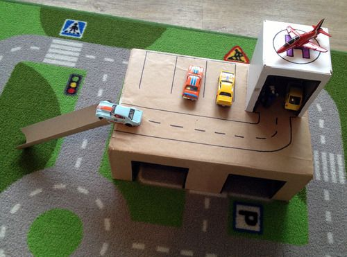 diy toy garage kiddles pinterest basteln f r kinder basteln mit kindern und f r kinder. Black Bedroom Furniture Sets. Home Design Ideas