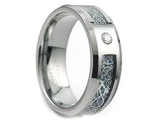 Tungsten Carbide Ring,Celtic Dragon Inlay,Ring,Band,Unisex Tungsten Ring,Light Blue Dragon Inlay,8mm,Tungsten Band, Tungsten Carbide Band
