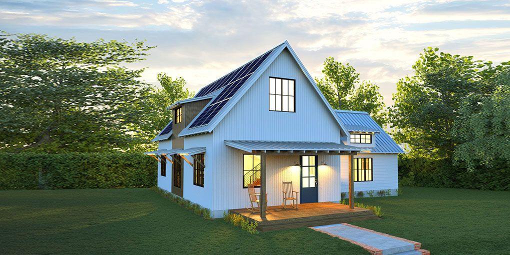 New Net Zero Solar Farmhouse From Deltec Generates All Its Own Energy Modern Prefab Homes Affordable Prefab Homes Farmhouse Architecture