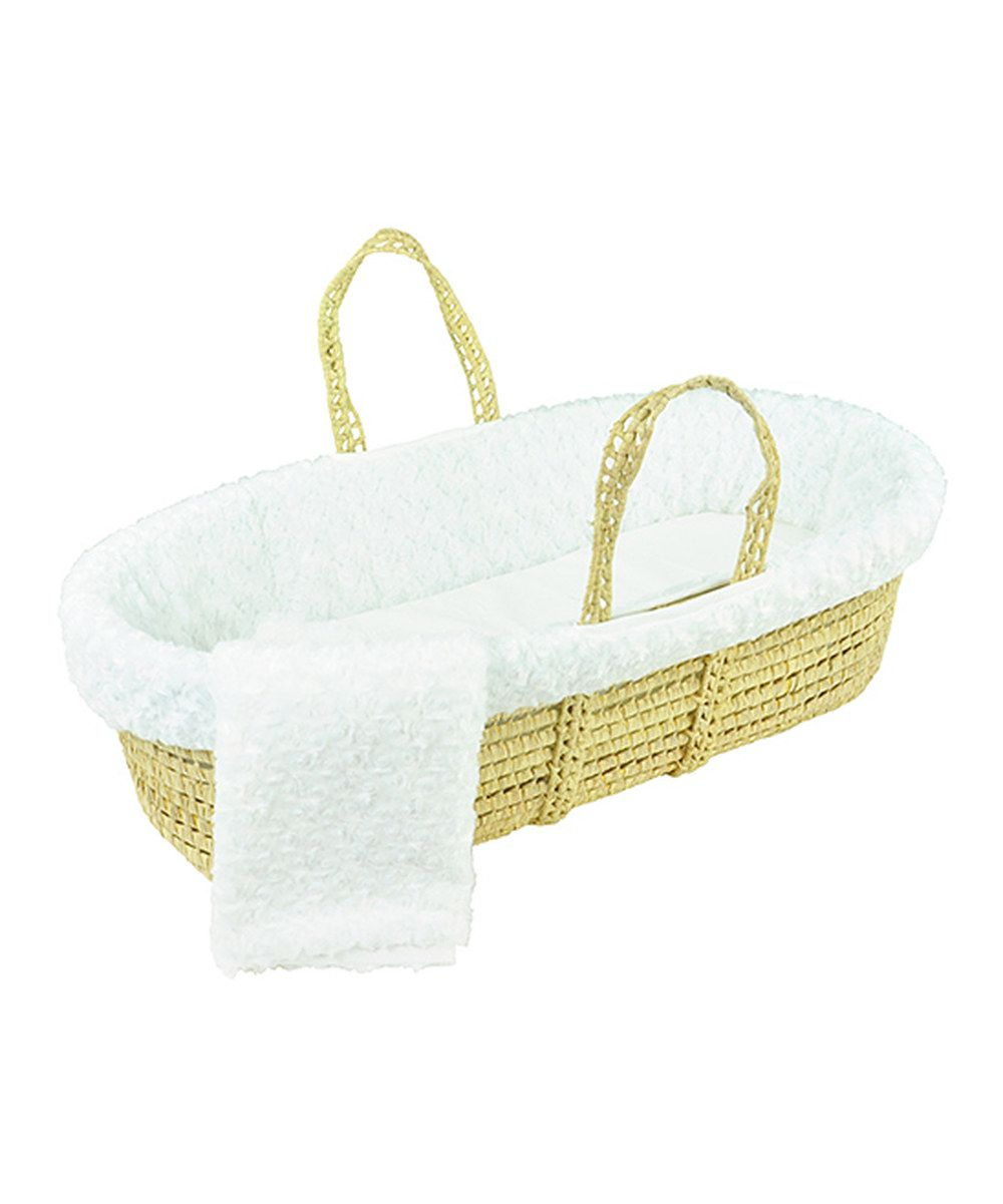 Take a look at this Tadpoles White Twisted Fur Moses Basket Set on zulily today!