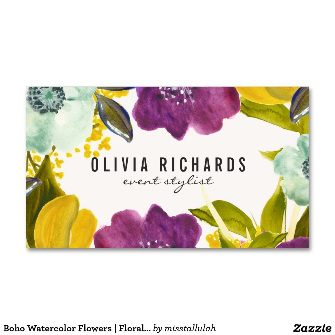 Boho Watercolor Flowers | Floral Business Card | Chic Business Cards ...