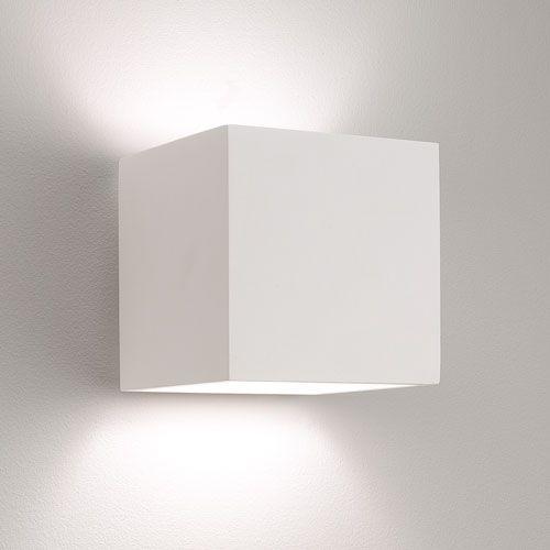Pienza 140 Plaster Square Wall Light (Paintable) using 1 x E14/SES ...