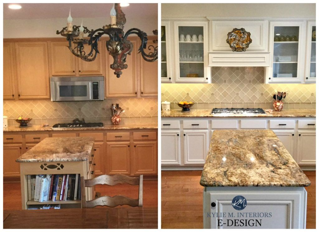 Maple Kitchen Cabinets Before After Painted Off White Benjamin Moore Down Kylie M Interiors E Design Online Paint Color Consultant And Expert