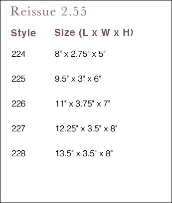 Chanel Reissue Size Chart