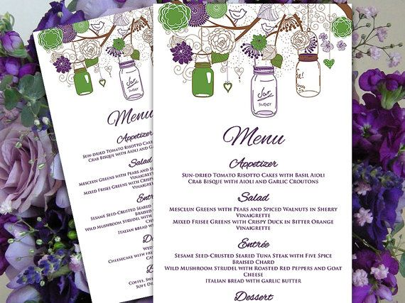 Mason Jar Menu Card Microsoft Word Template Eggplant Purple - Menu Word Template