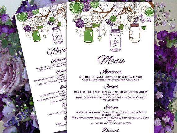 Mason Jar Menu Card Microsoft Word Template Eggplant Purple - Menu Word Template