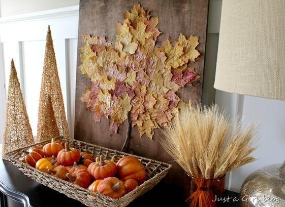 30 manualidades para decorar con hojas secas Hoja Otoo y Tonos