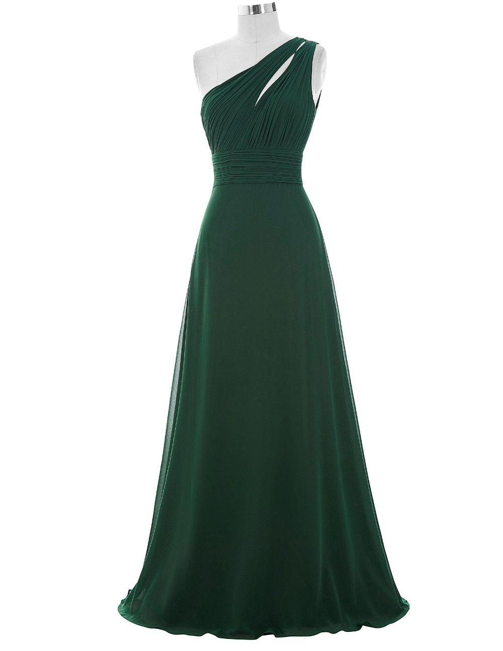 Forest green floor length chiffon aline evening dress prom or