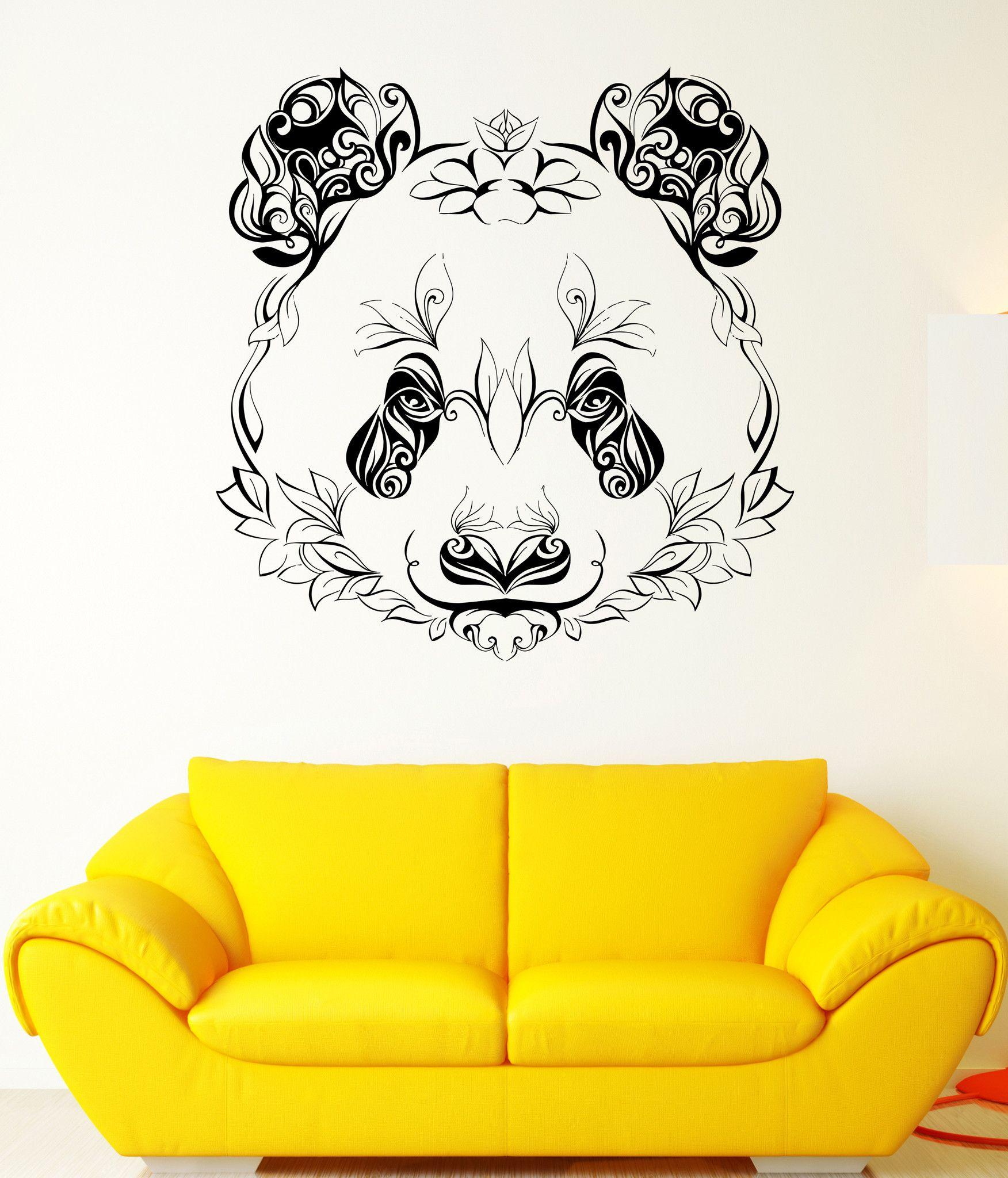 Wall Vinyl Sticker Decal Panda Animal Head Color Pattern Petals - Wall vinyl stickers