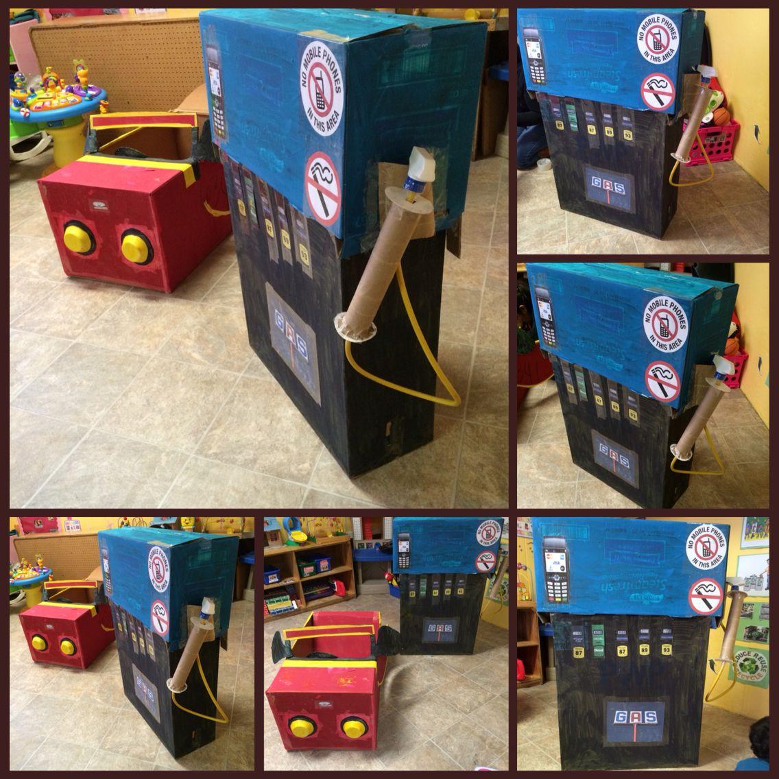 Cardboard box car and gas pump diy preschool