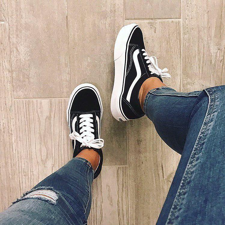 Damen vans Schwarz weiß Old Skool Platform Sneaker