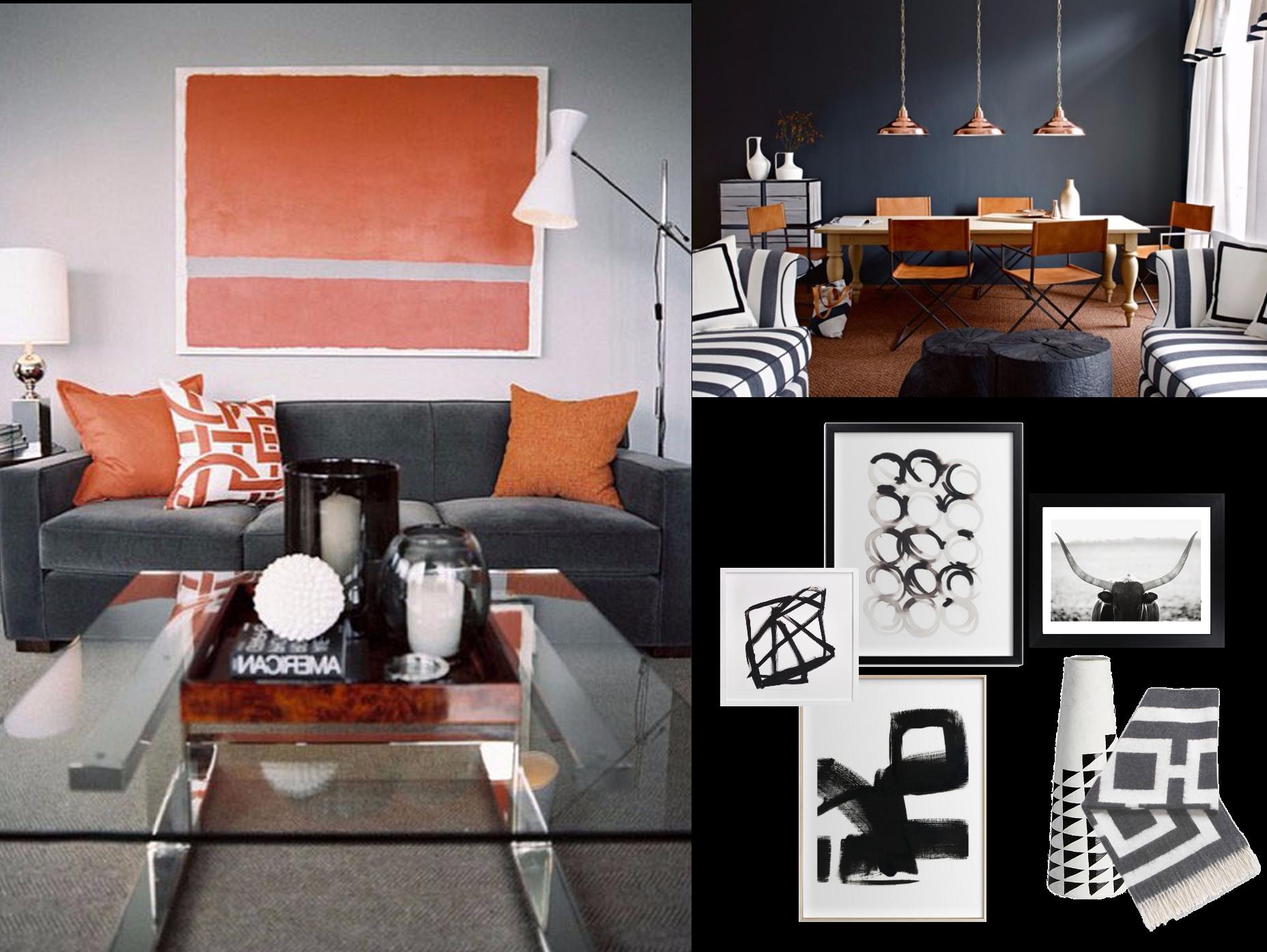 Gray Sofa Tiger Print Area Rug Dark Gray Walls And Rust Orange Curtains Yes Or No Orange Curtains Grey Walls Gray Sofa