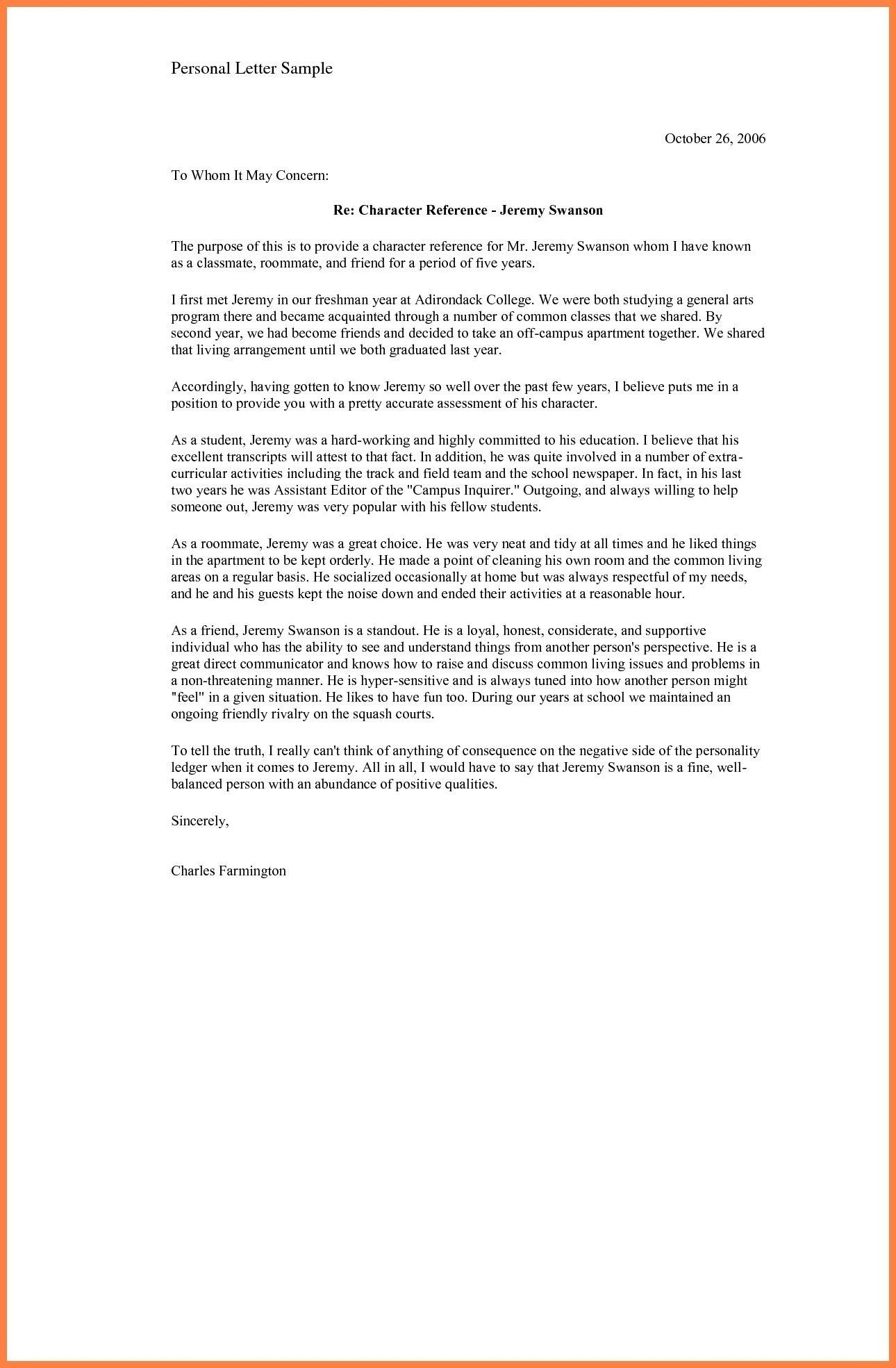 Personal Reference Letter for Immigration Beautiful Sample