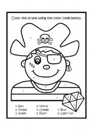 Pirate color by number pirates pinterest school for Pirate coloring pages for preschool
