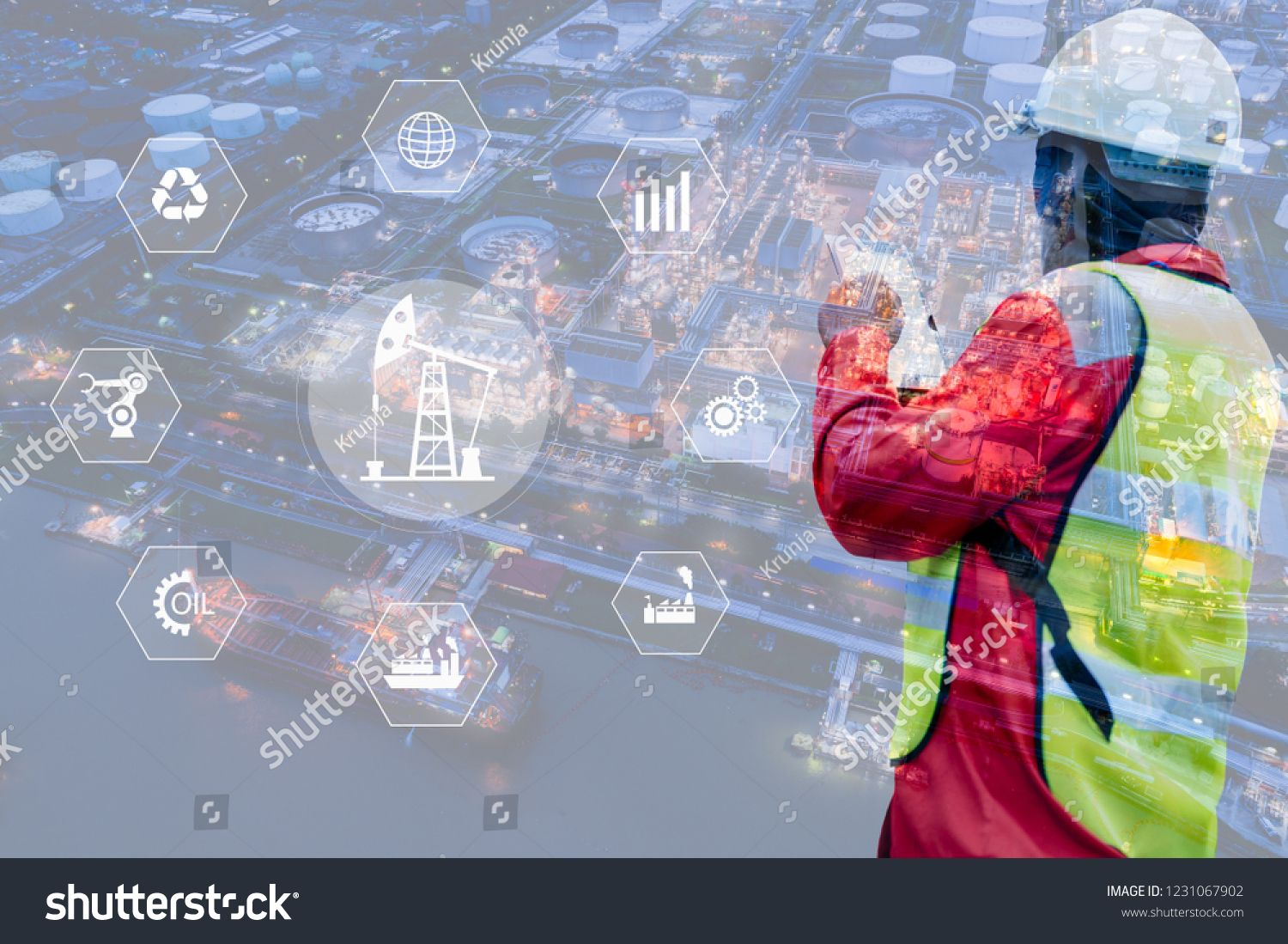 Double exposure of engineer with oil refinery industry