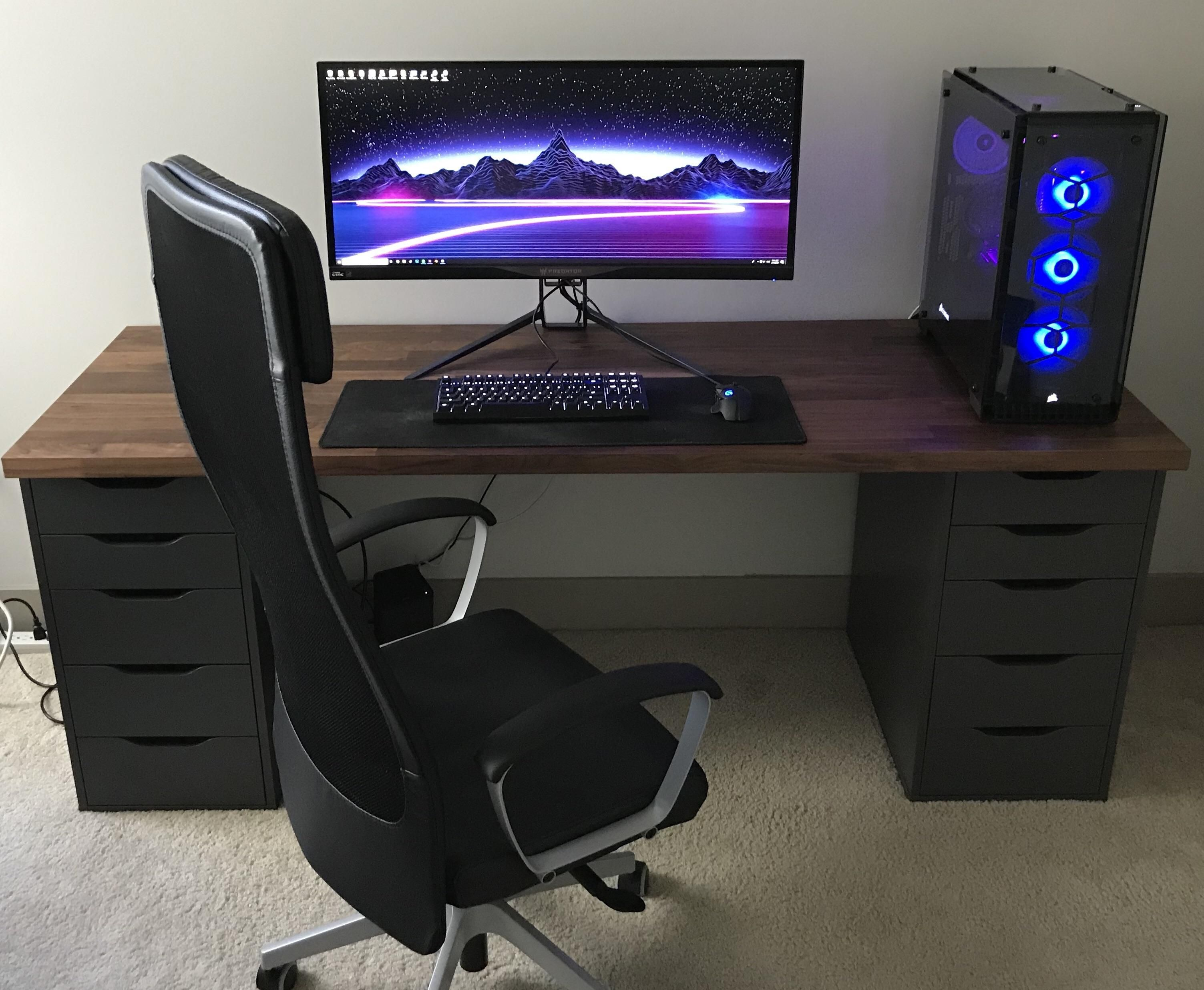 Minimalist Ikea Driven Battlestation Office Computer Desk Setup Gaming Room Setup Home Office Setup