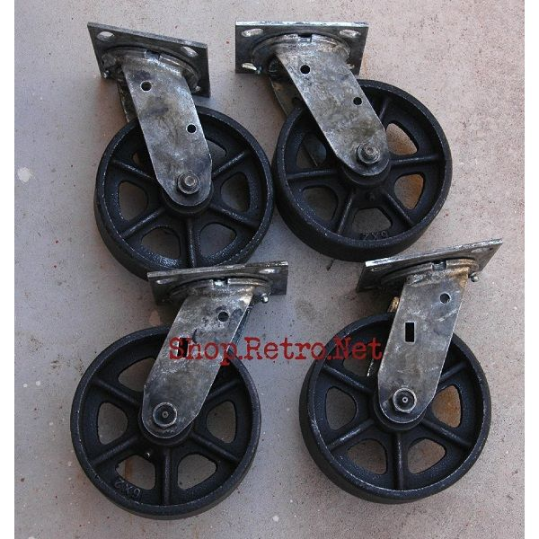 6 Cast Iron Caster Wheels Vintage Industrial Furniture