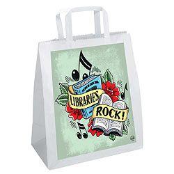Libraries Rock Plastic Book Bags With Loop Handles