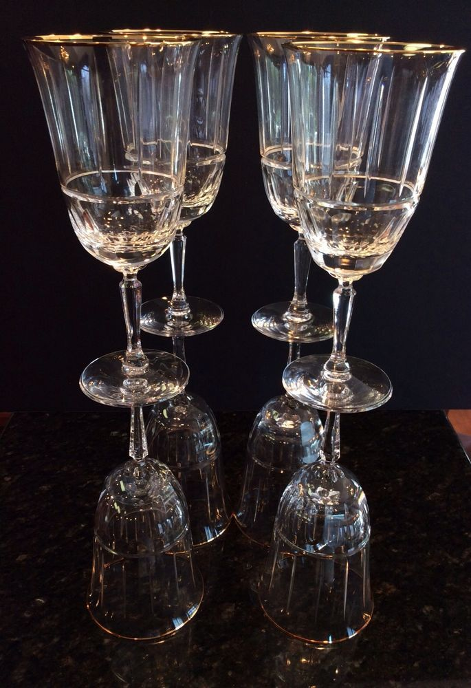 4cdfbf18e0a 8 VINTAGE LENOX CLASSIC REGENCY Gold Cut Crystal Wine Glasses Iced Tea  Goblets  Lenox