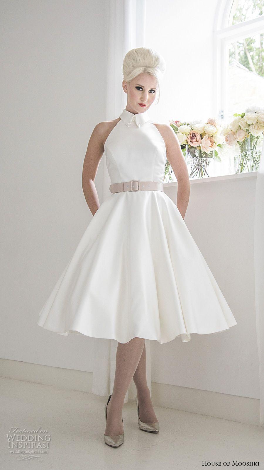 house of mooshki 2017 bridal sleeveless halter high neck simple clean romantic tea length short wedding dress strap open back (mercy) mv -- House of Mooshki 2017 Wedding Dresses