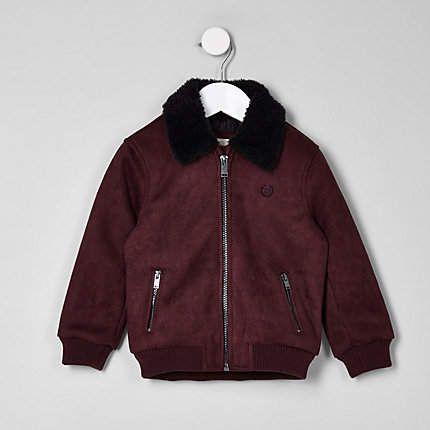 0da5f89df Mini boys red suedette borg bomber jacket in 2018