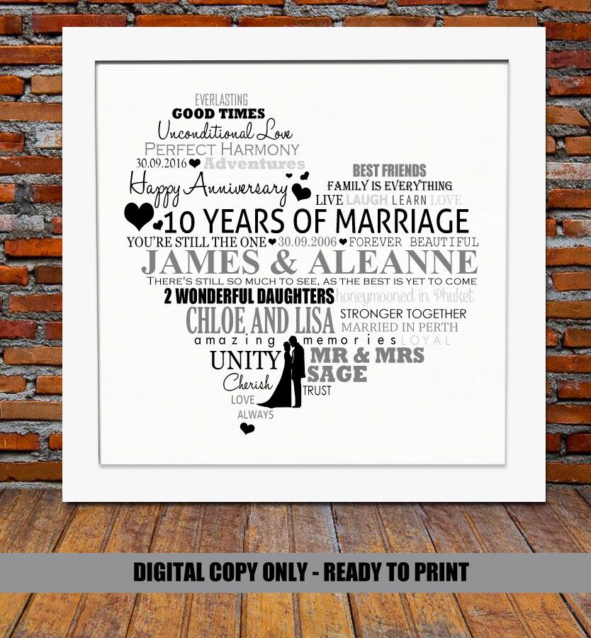 Personalized 10th Anniversary Gift 10 Years Anniversary 10 Year