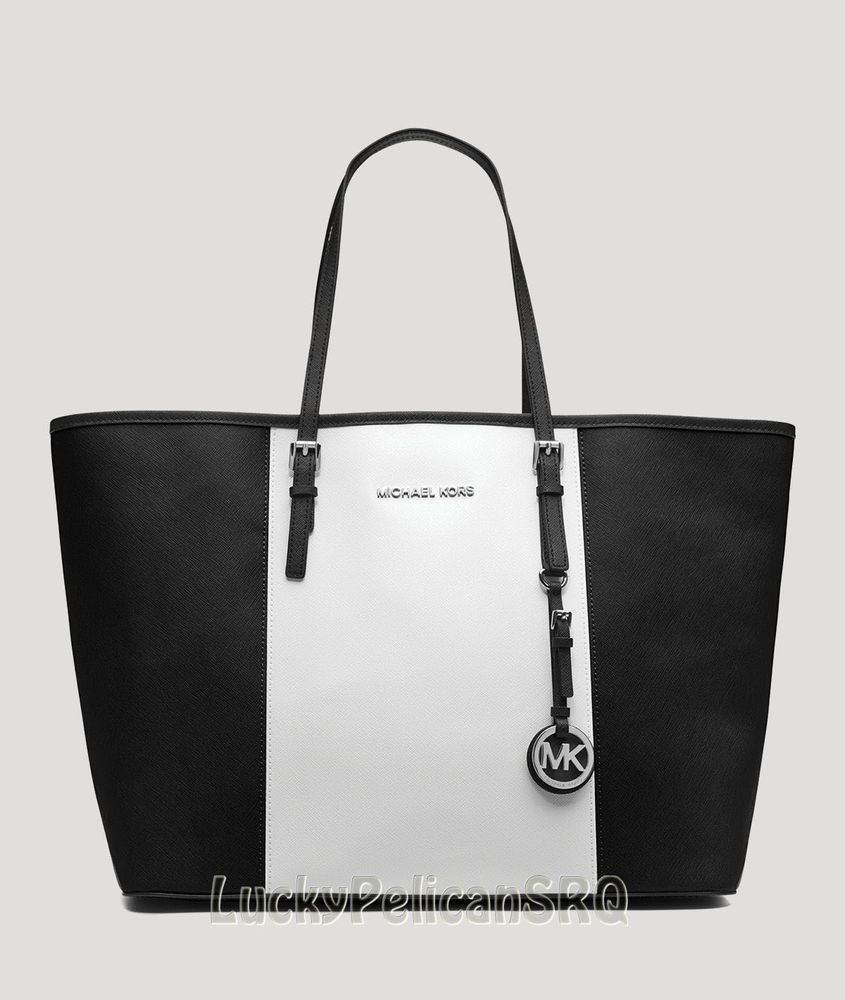 Michael Kors Jet Set Travel Black Saffiano Center Stripe