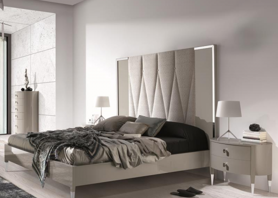 Bedroom In Pearl Grey Lacquered With Headboard Upholstered With