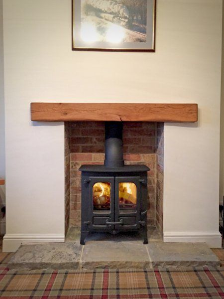 Island 1 Brick fireplace oak beam reclaimed yorkshire stone hearth - diseo de chimeneas para casas