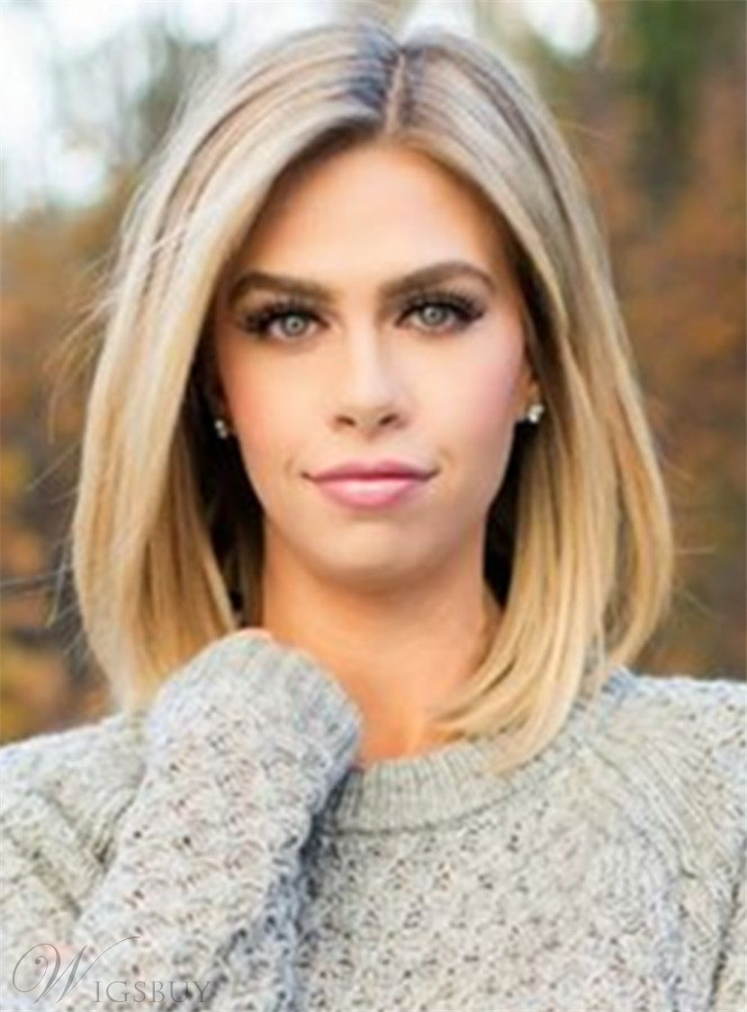 Mid Length Straight Blonde Full Lace Human Hair Wig 12 Inches Shoulder Length Straight Hair Medium Hair Styles Straight Hairstyles