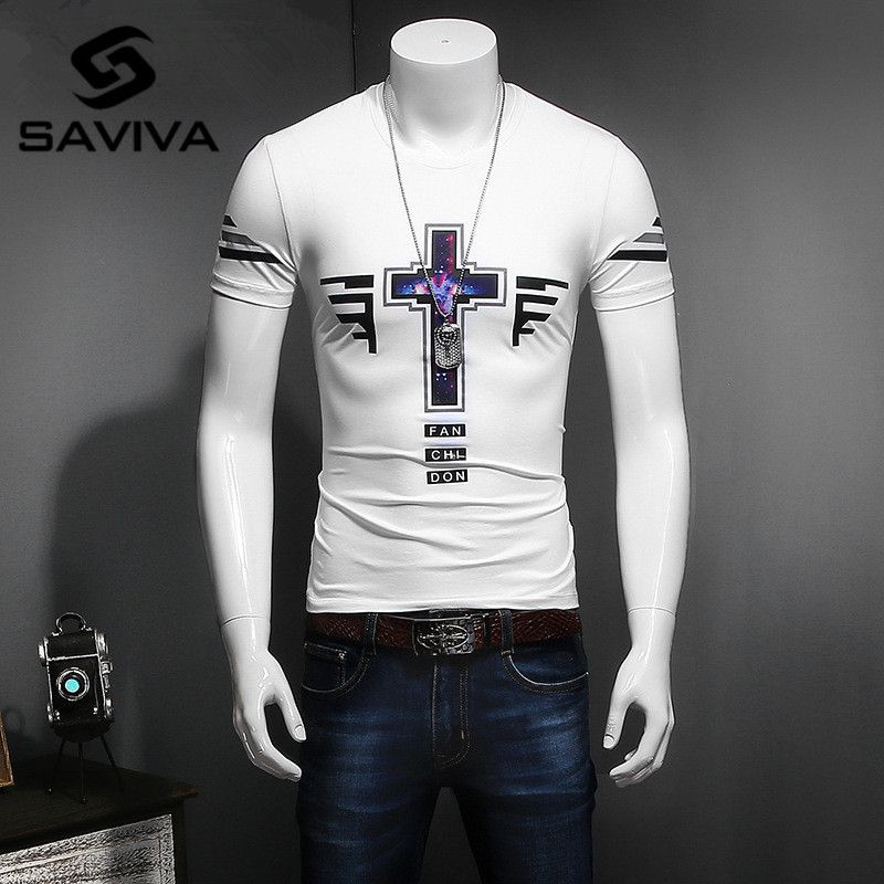 SAVIVA New Summer Printed Colorful Crosses T Shirt Men Brand Clothing Fashion Element Male Top Quality Cotton Tee
