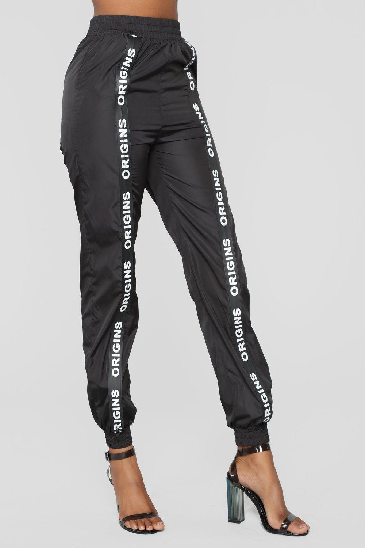 Origin Zipper Tape Joggers Black Joggers Womens Joggers With Zippers Women Jogger Pants