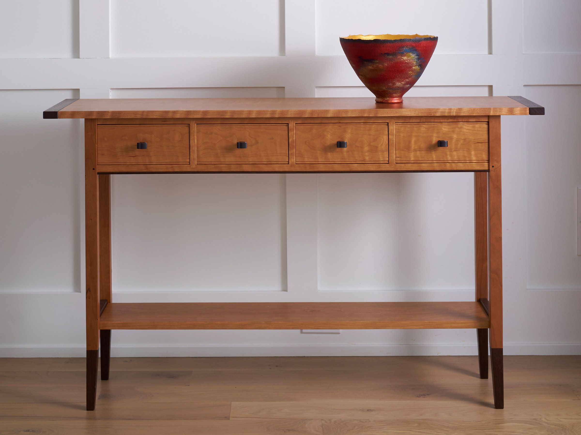 Solid Cherry Table By Tom Dumke Wood Console Table Artful Home In 2020 Wood Console Table Wood Console Entryway Table Decor