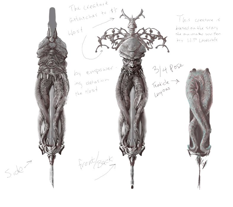 HP Lovecraft inspired concept art for a very evil syringe and the model that resulted