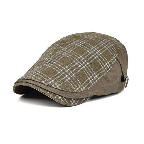 9.99 VOBOOM Men s Cotton Flat Cap Plaid Ivy Gatsby Newsboy Cabbie Driving  Hat Cap 026 10d995f751c0