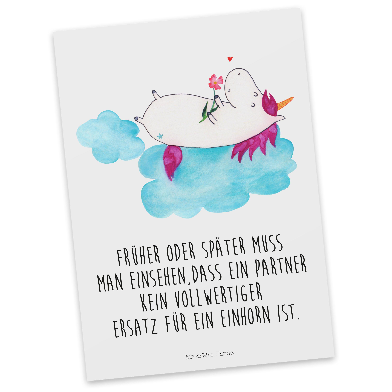 Postkarte Einhorn verliebt auf Wolke aus Karton 300 Gramm  weiß - Das Original von Mr. & Mrs. Panda.  Diese wunderschöne Postkarte aus edlem und hochwertigem 300 Gramm Papier wurde matt glänzend bedruckt und wirkt dadurch sehr edel. Natürlich ist sie auch als Geschenkkarte oder Einladungskarte problemlos zu verwenden. Jede unserer Postkarten wird von uns per hand entworfen, gefertigt, verpackt und verschickt.    Über unser Motiv Einhorn verliebt auf Wolke  Das verliebte Einhorn ist der beste…