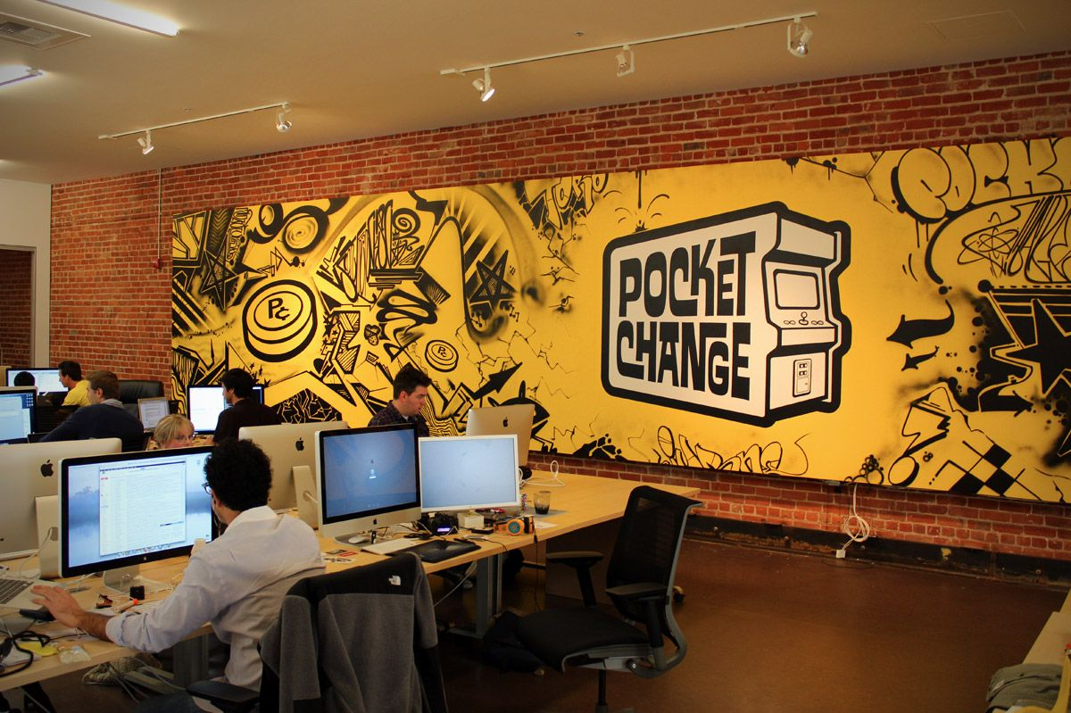 yellow focus wall murals pinterest startup office graffiti jurne graffiti mural for pocktchange san francisco office