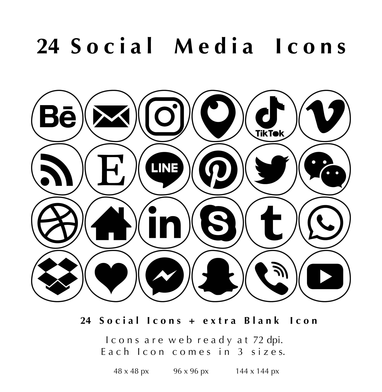24 Black on White Irregular Bleb Shapes Web & Blog Social