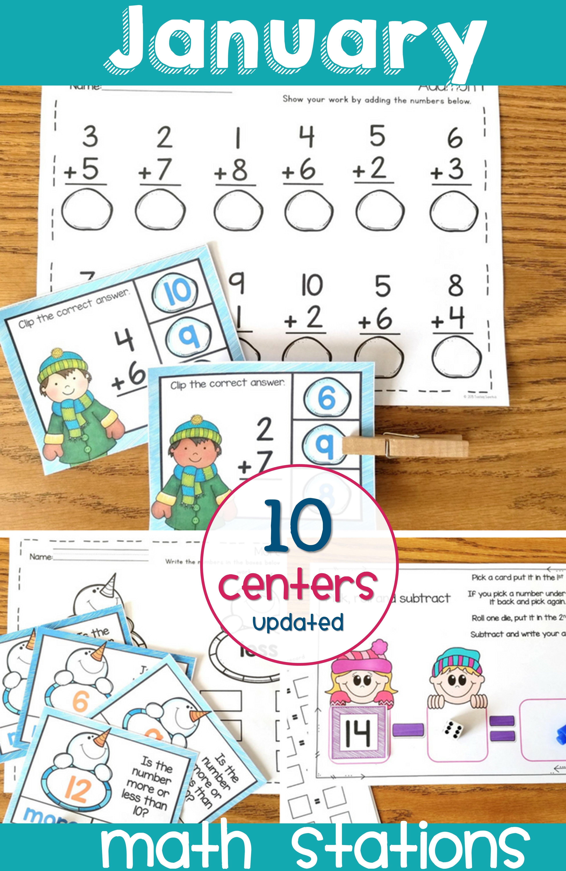 January Math Centers For Kindergarten Basic Math Review Skills For Kindergarten And First Grade