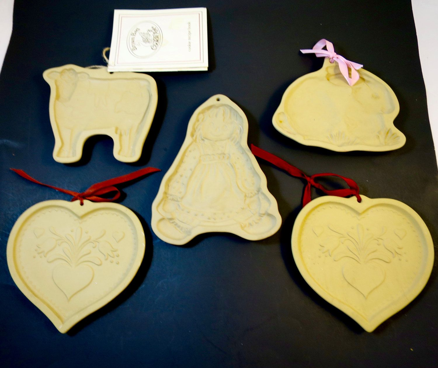 5 Vintage Brown Bag Cookie Molds Kitchen Wall Decor 2 Hearts, Bunny ...