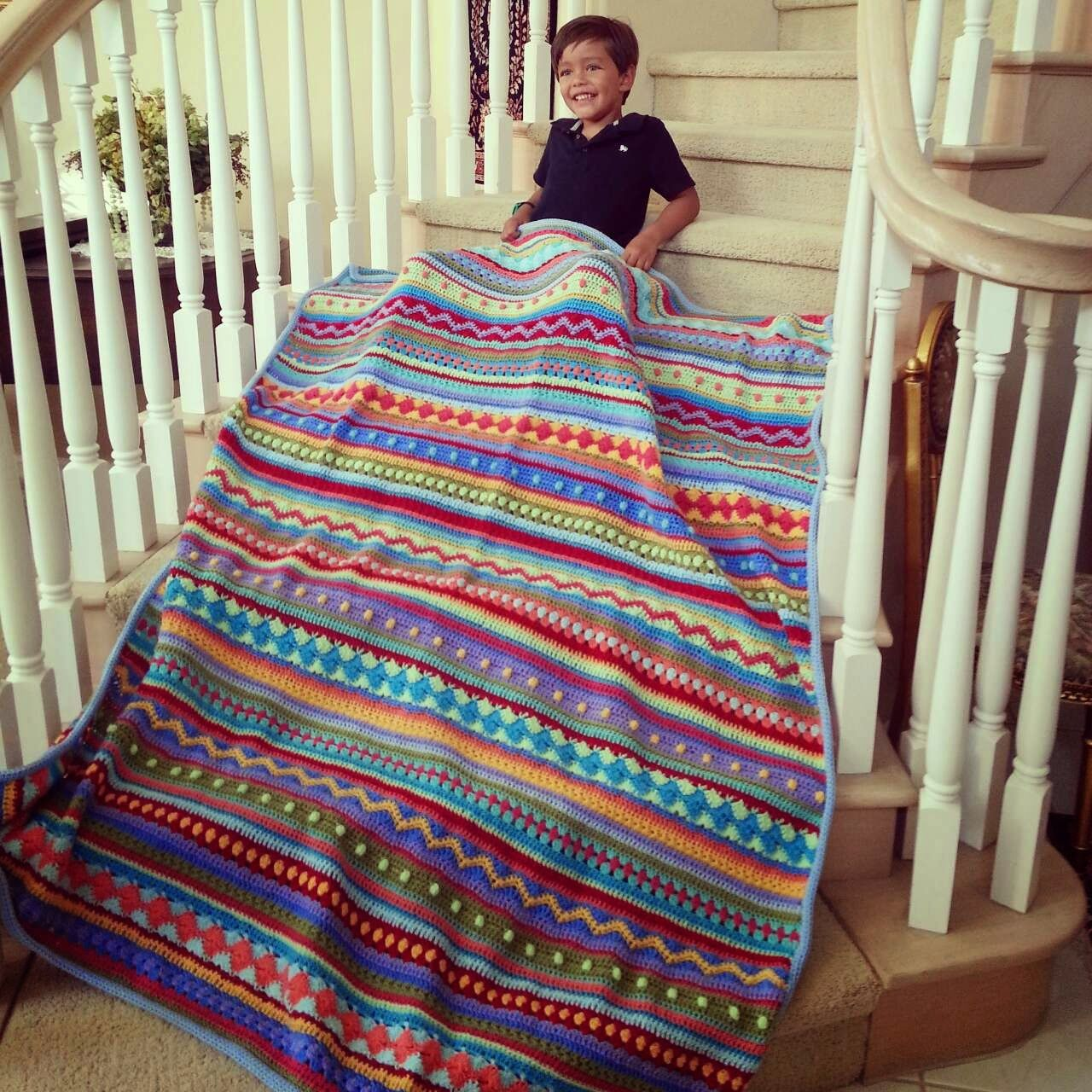 Crochet Along As We Go Stripey Blanket - Finished at Last! - blog has link to pattern, her work was too cute not to pin!