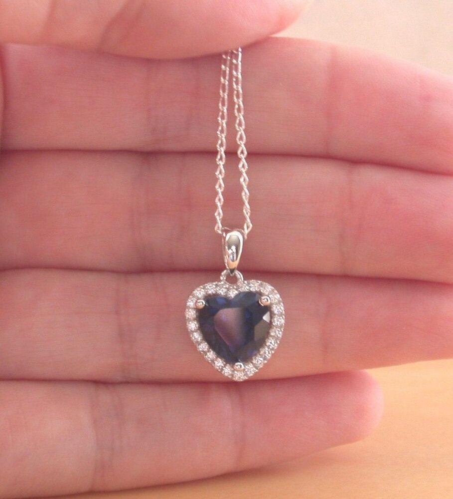 Silver Sapphire Jewellery Sapphire Necklace September Birthstone Uk Sapphire Jewelry Jewelry Heart Gemstone
