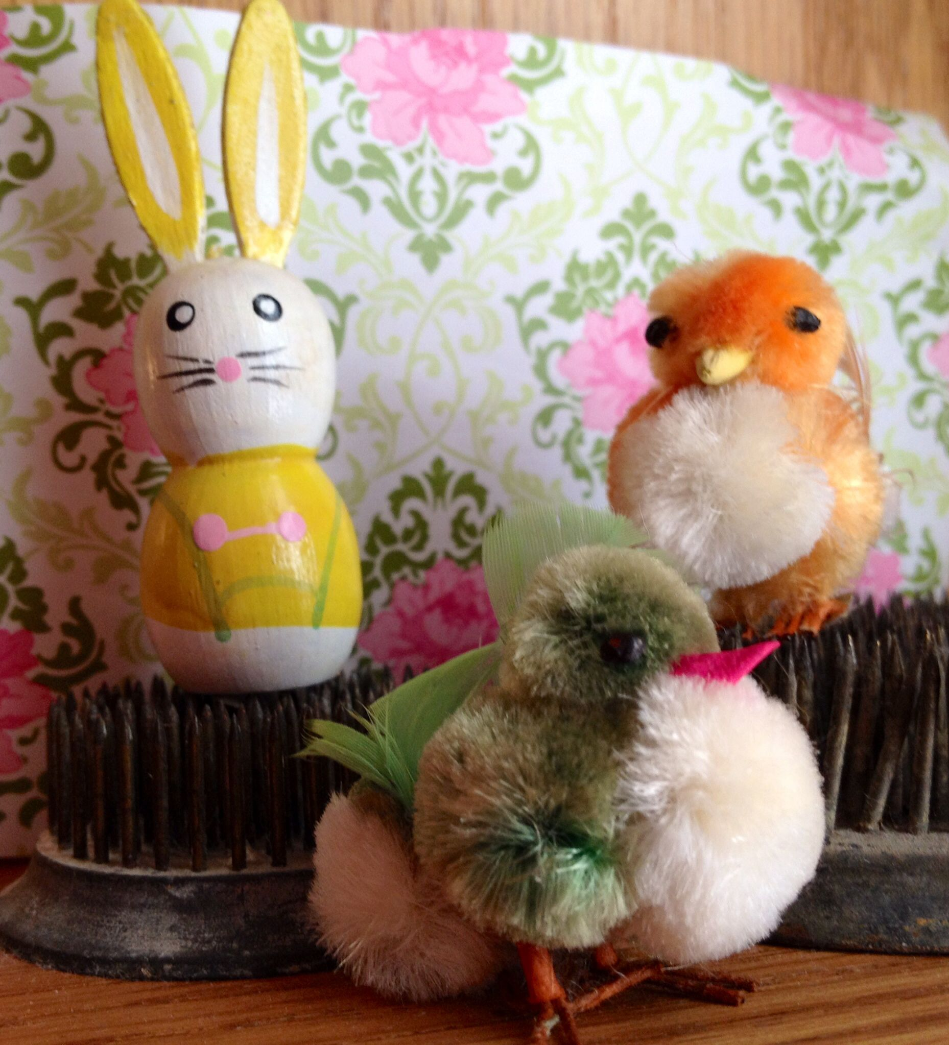 Vintage chenille easter chicks and wooden bunny