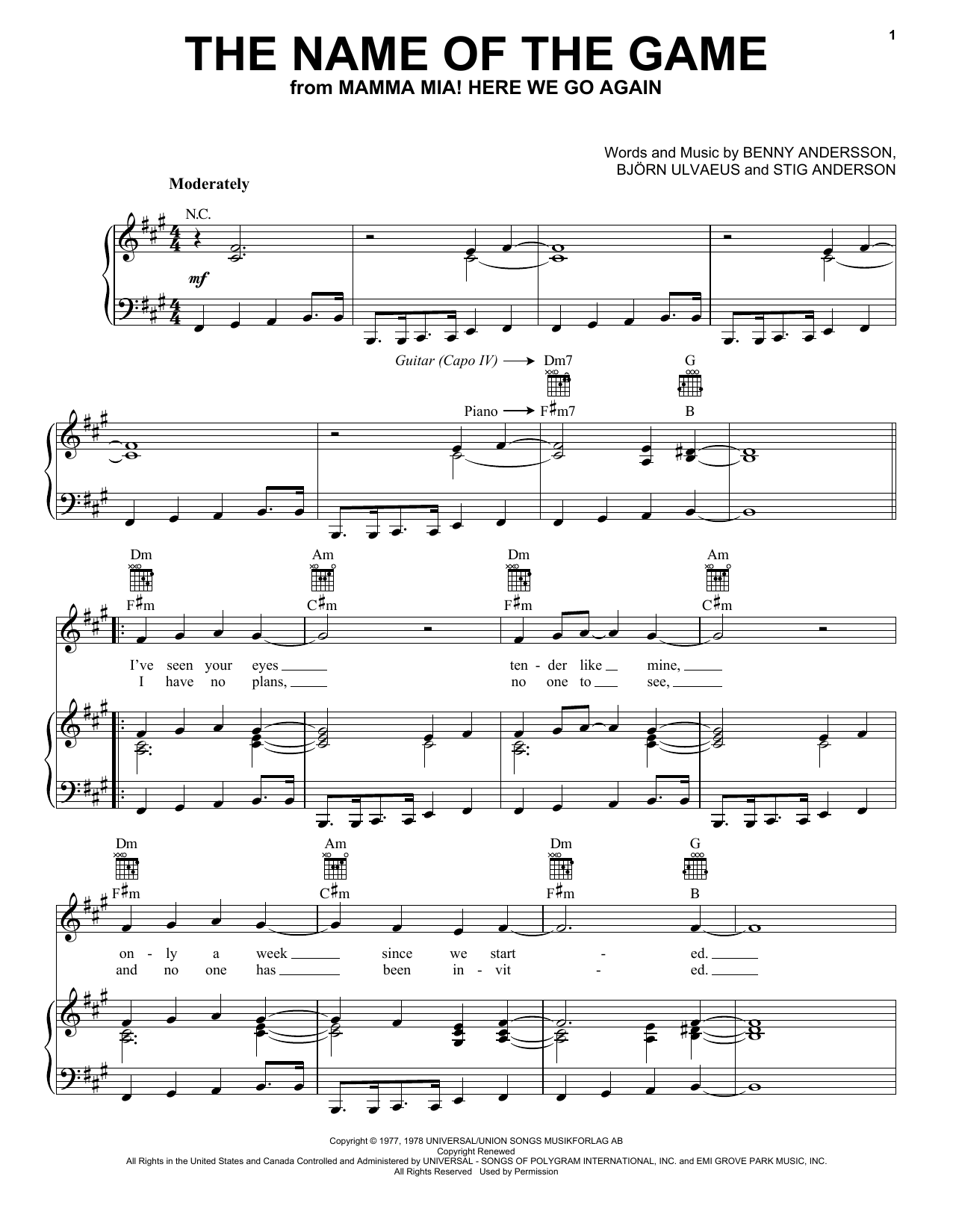 Abba The Name Of The Game From Mamma Mia Here We Go Again Sheet Music Notes Chords Score Download Printable Pdf In 2020 Sheet Music Notes Sheet Music Music Notes