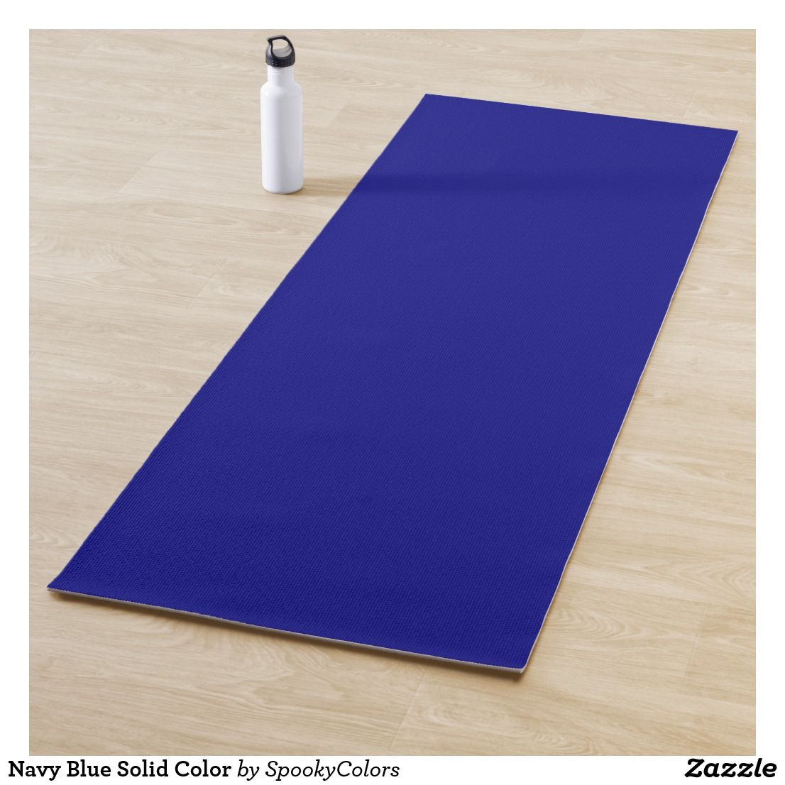 Navy Blue Solid Color Yoga Mat Zazzle Com Custom Yoga Mat Printing Double Sided Color