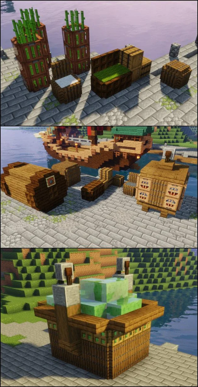 These Are My Ideas For Freight On My Docks I Need More Any Ideas Or Links Detailcraft Minecraft Architecture Minecraft Construction Minecraft Building