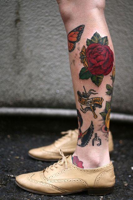 Calf Traditional Rose Tattoo Artful Tattoos Shin Tattoo Sleeve Tattoos Leg Tattoos