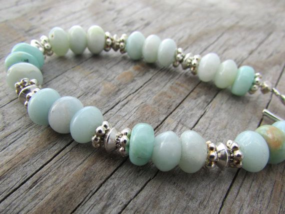 Amazonite Bracelet simple blue amazonite silver by twobadcats
