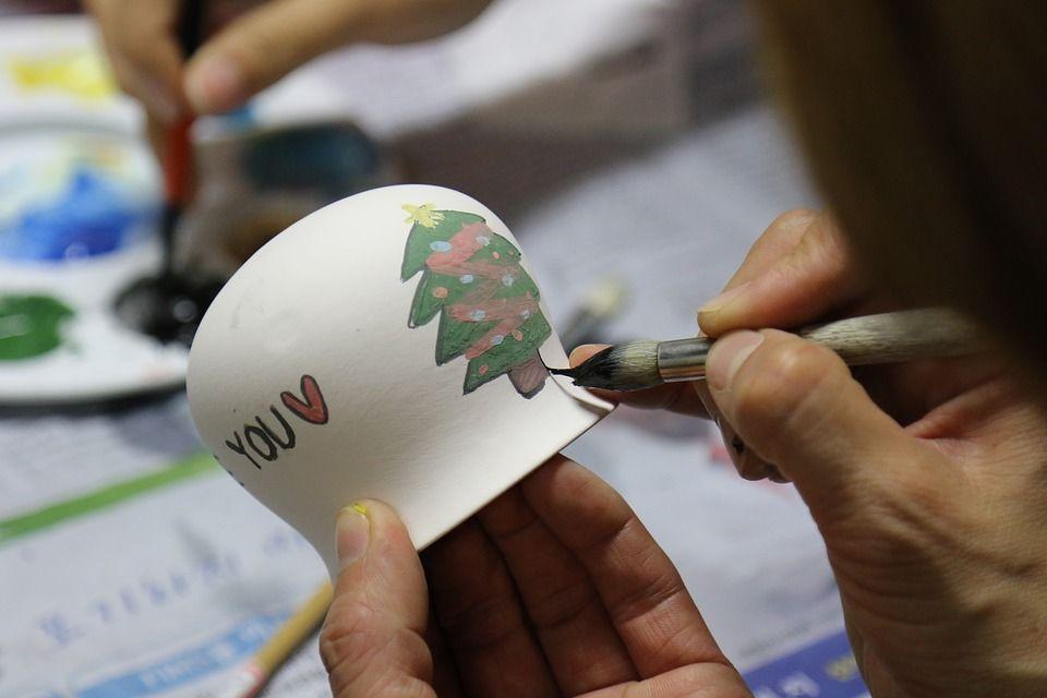 풍경, 미술, 작품, 조형물, 인테리어, 소품, 귀여운, 크리스마스, 트리, 겨울, 손, 붓