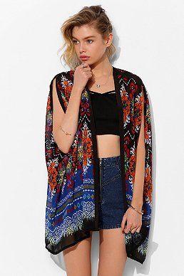 Staring At Stars Blanket-Print Kimono Jacket